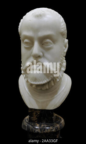 Philip II (1527-1598). King of Spain (1556-1598). Bust by Pompeo Leoni (1533-1608), ca.1575. Alabaster. (On loan, courtesy of Prado Museum, Madrid). History Museum. Madrid. Spain. - Stock Photo