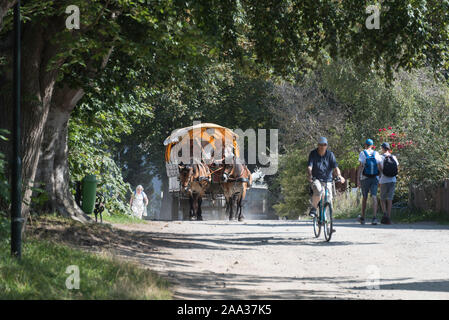 24 August 2019, Germany (German), Hiddensee: A cyclist rides on a sandy path through a monastery. There's a coachman behind him in his horse-drawn carriage. It takes tourists across the island of Hiddensee, which has been part of the Vorpommersche Boddenlandschaft National Park since 1990. It is also known as the 'pearl of the Baltic Sea' and covers an area of 16.8 square kilometres. Motor vehicles are not permitted on the island of Hiddensee. Photo: Stephan Schulz/dpa-Zentralbild/ZB - Stock Photo