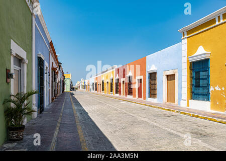 Colorful colonial houses in historic part of Campeche, Mexico. - Stock Photo