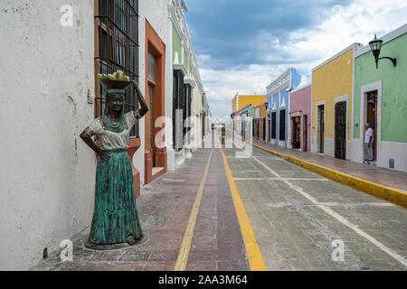 Brightly painted houses in Campeche, Mexico - Stock Photo