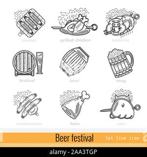 Set of Beer Festival Outline Web Icon - Stock Photo