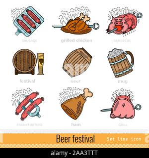 Set of Color Beer Festival Outline Web Icon - Stock Photo