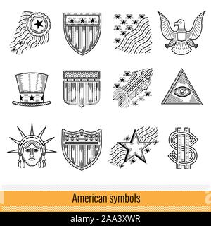 Set of Outline Web Icon. Symbols of America USA - Stock Photo