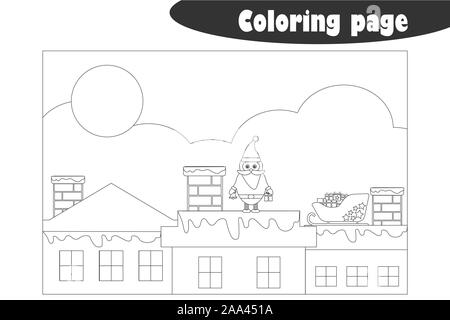 Santa Claus on the roof in cartoon style, coloring page, christmas education paper game for the development of children, kids preschool activity - Stock Photo