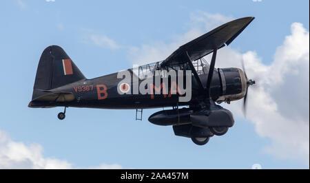 Westland Lysander V9552 flypast - Stock Photo