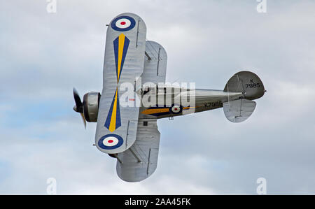 Gloster Gladiator G-AMRK K7985 air display - Stock Photo