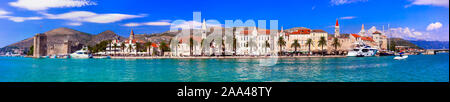 Landmarks of Croatia,Beautiful Trogir old town,view with sea,old cathedrals and castle. - Stock Photo