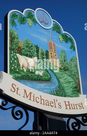 st michaels hurst signage at new build housing development employment land, shops, community facilities in Bishops Stortford, Hertfordshire, England - Stock Photo