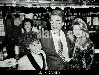 "Actors Rhea Perlman (left),Ted Danson (center) and Kristie Alley (right) at the ""Cheers"" celebration at the BullFInch Pub in Boston Ma USA 1990's photo by bill belknap - Stock Photo"