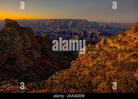 Grand Canyon view at sunset from New Hance Trail, South Rim, Grand Canyon, Arizona, USA
