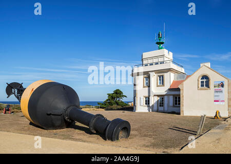 Lighthouse / semaphore museum and buoy at Préfailles, Pointe Saint-Gildas / St Gildas Point, Loire-Atlantique, France - Stock Photo