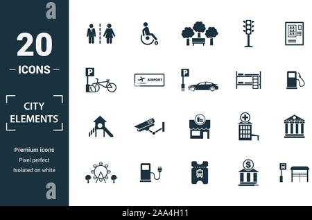 City Elements icon set. Include creative elements restroom sign, public park, bicycle parking, hostel, playground icons. Can be used for report - Stock Photo
