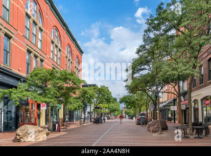 Shops on Church Street in downtown Burlington, Vermont, USA - Stock Photo