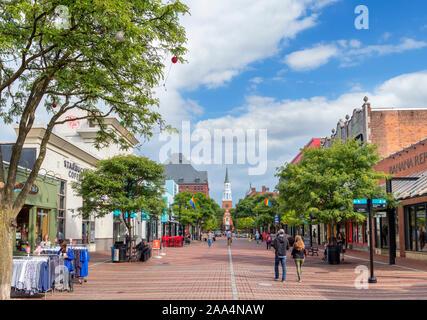 Church Street in downtown Burlington, Vermont, USA - Stock Photo