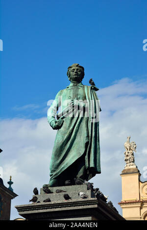 The statue of Adam Mickiewicz, the greatest polish romantic poet of the 19th century, is one of the best known bronze statues in Poland. Krakow - Stock Photo
