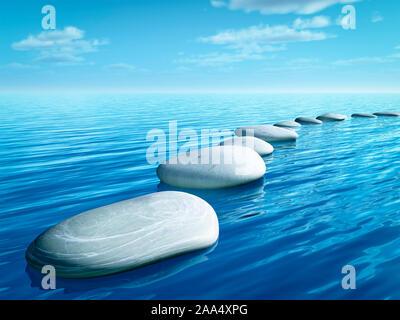 Weisse Steine, die in einer Linie angeordnet sind, um ueber das Wasser schreiten zu koennen - Stock Photo