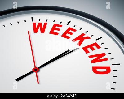 Ein simples Ziffernblatt mit der Aufschrift: 'Weekend' - Stock Photo