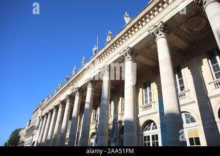The beautiful Grand Theatre in Place de la Comédie, in the center of the city, Bordeaux, France. - Stock Photo