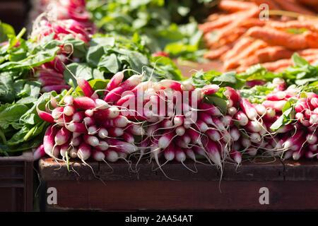 legumes vegetable stall Hardelot, France - Stock Photo
