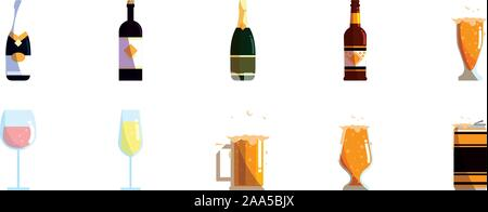 alcohol drinks icon set pack, High Quality variety symbols Vector illustration - Stock Photo