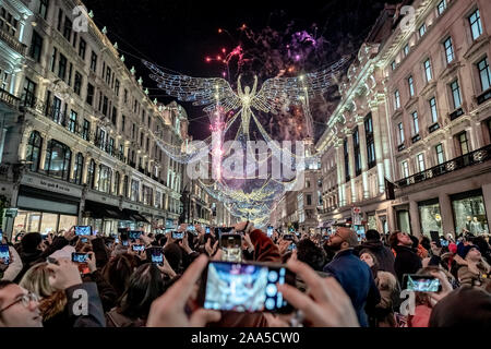 London, UK. 14th Nov 2019. Regent Street Christmas Lights switch-on with fireworks display. Credit: Guy Corbishley/Alamy Live News - Stock Photo