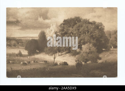 1905-1915. Known as the 'art reproduction' series.; Autumn Oaks, George Innes - Stock Photo