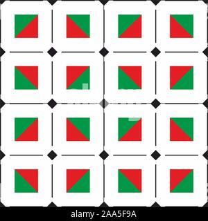 Geometric diagonal squares. Seamless mix shapes pattern, stripes. Christmas, new year background, fashion print. - Vector - Stock Photo