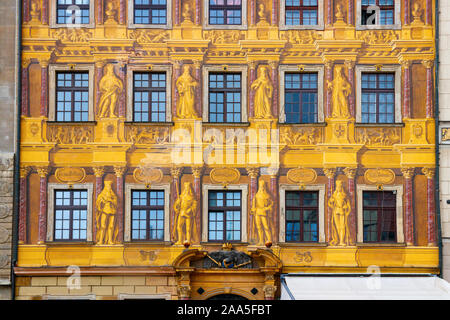 Colorful painted facade of the renaissance style House of the Seven Electors, located at the medieval Wroclaw Market Square. Wroclaw, Poland. - Stock Photo