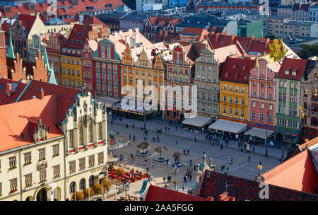 Aerial view of the Wroclaw historical city centre with the colorful houses of the Market Square on a sunny afternoon. Wroclaw, Poland. - Stock Photo