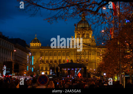 Prague, Czech Republic - November 17, 2018: Thousands of people celebrate freedom marching for democracy, Velvet Revolution and Students Day anniversa - Stock Photo