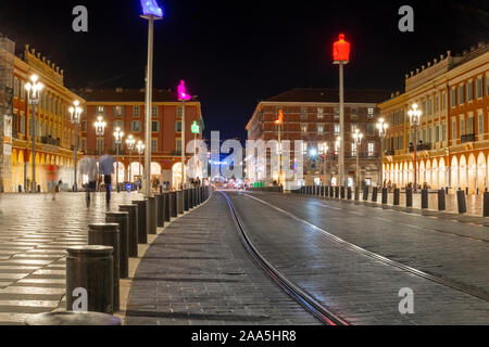 Late night view towards Place Charles de Gaule from Place Massena in Nice, France. - Stock Photo