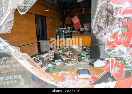 Hong Kong November 19 2019 Starbucks vandalized on Jordan Rd in Kowloon during protests. - Stock Photo