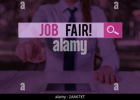 Writing note showing Job Fair. Business concept for event where employers offer information about their companies - Stock Photo