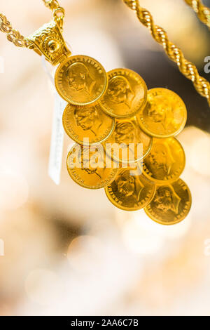 Turkish Gold Coins with portrait in view - Stock Photo