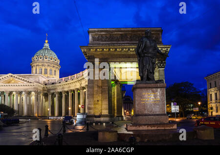 Saint-Petersburg, Russia, May 6, 2015: Statue of Prince Kutuzov Smolensky in front of Kazan cathedral at night - Stock Photo
