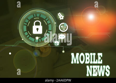 Conceptual hand writing showing Mobile News. Concept meaning the delivery and creation of news using mobile devices - Stock Photo