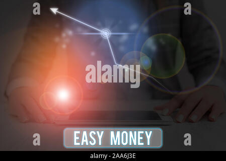Conceptual hand writing showing Easy Money. Concept meaning money that is easily have and sometimes dishonestly earned - Stock Photo