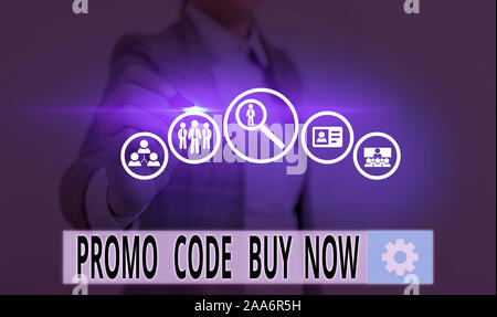 Text sign showing Promo Code Buy Now. Business photo showcasing Giving great discount by entering special words - Stock Photo