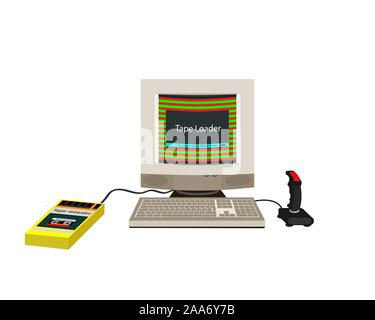 Computer joystick 90s. Rear and side view. Flat style. Vector illustration. - Stock Photo