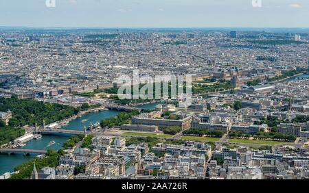 View of the Musee du Louvre, city view with the river Seine, view from the Eiffel Tower, Paris, France - Stock Photo