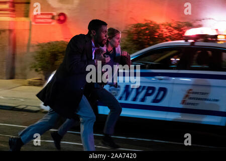 RELEASE DATE: November 22, 2019 TITLE: 21 Bridges STUDIO: STX Entertainment DIRECTOR: Brian Kirk PLOT: An embattled NYPD detective is thrust into a citywide manhunt for a pair of cop killers after uncovering a massive and unexpected conspiracy. STARRING: CHADWICK BOSEMAN as Andre Davis, SIENNA MILLER. (Credit Image: © STX Entertainment/Entertainment Pictures)