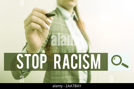 Handwriting text writing Stop Racism. Conceptual photo end the antagonism directed against someone of a different race Business woman pointing in empt - Stock Photo