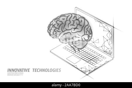 Virtual assistant voice recognition service technology. AI artificial intelligence robot support. Chatbot brain on laptop system low poly vector - Stock Photo