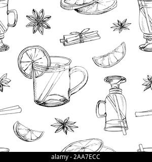 Hand drawn vector seamless pattern with popular winter alcoholic beverage. Mulled wine with spices and citrus fruit isolated on white. Print for New Y - Stock Photo