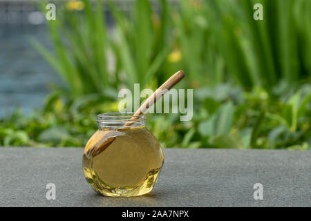 Natural medical treatment yellow bath gel in a design package.Beauty organic  health care product. - Stock Photo
