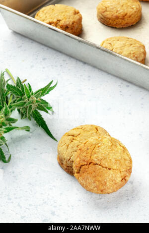 Cannabis butter cookies with marijuana buds, homemade healthy freshly baked biscuits in a baking tray