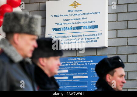 Yekaterinburg, Russia. 20th Nov, 2019. YEKATERINBURG, RUSSIA - NOVEMBER 20, 2019: Officers by a new police station in Yekaterinburg's Akademichesky District. District police and youth liaison officers, patrol and sentry and road patrol service crews are to be stationed at the new station. Donat Sorokin/TASS Credit: ITAR-TASS News Agency/Alamy Live News - Stock Photo