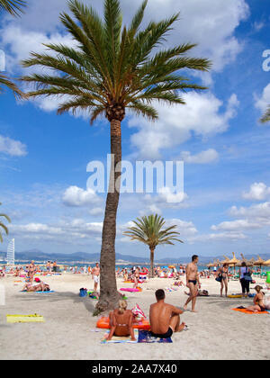People at the beach Playa de Palma, El Arenal, Mallorca, Balearic islands, Spain - Stock Photo