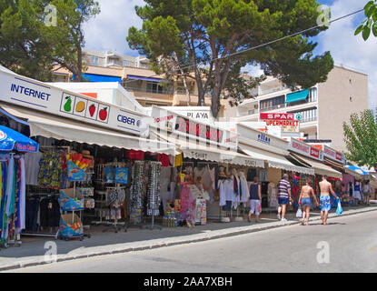 Souvenir shops in Peguera, Mallorca, Balearic islands, Spain - Stock Photo