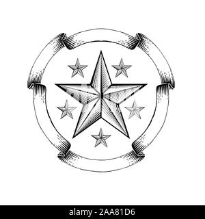 Engraving star in the middle of round ribbon frame isolated on white. Vintage style for print or design - Stock Photo